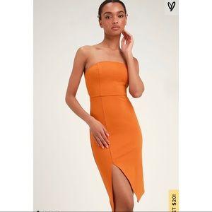 Lulu's Jazzie Burnt Orange Strapless Bodycon Dress
